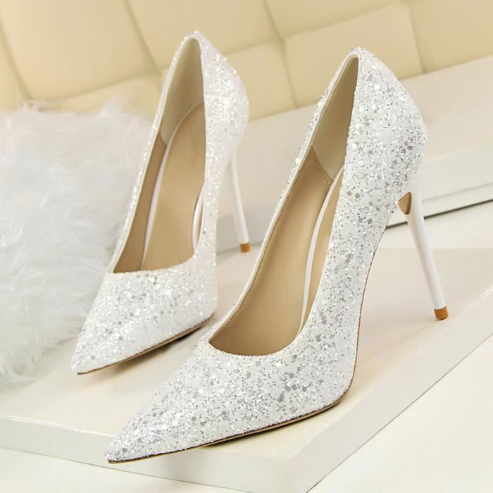 gemvie sexy escarpin chaussures femme soir e mariage chaussure talon haute paillettes blanc. Black Bedroom Furniture Sets. Home Design Ideas