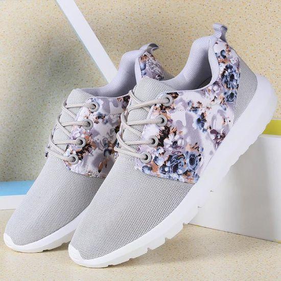 Reservece Baskets Baskets femme respirant Imprimer Fleur Chaussures Casual Mesh Low Top Chaussures Gris