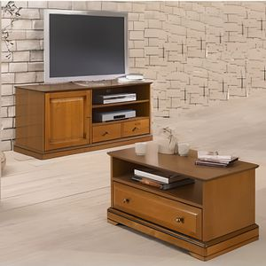 ensemble meuble tv et table basse plaqu s meris achat. Black Bedroom Furniture Sets. Home Design Ideas