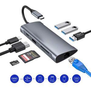 ADAPTATEUR AUDIO-VIDÉO  Hub USB C,8 en 1 Type C Adaptateur à HDMI 4K,5,0 G