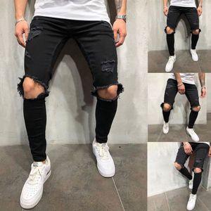JEANS Jeans Homme troué Pantalon Sarouel Slim Couleur Un