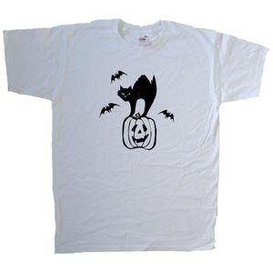 T-SHIRT T-shirt Halloween citrouille chauve-souris pour ch