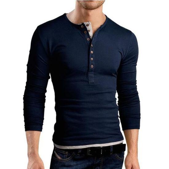 T shirt slim fit col boutonné à manches longues