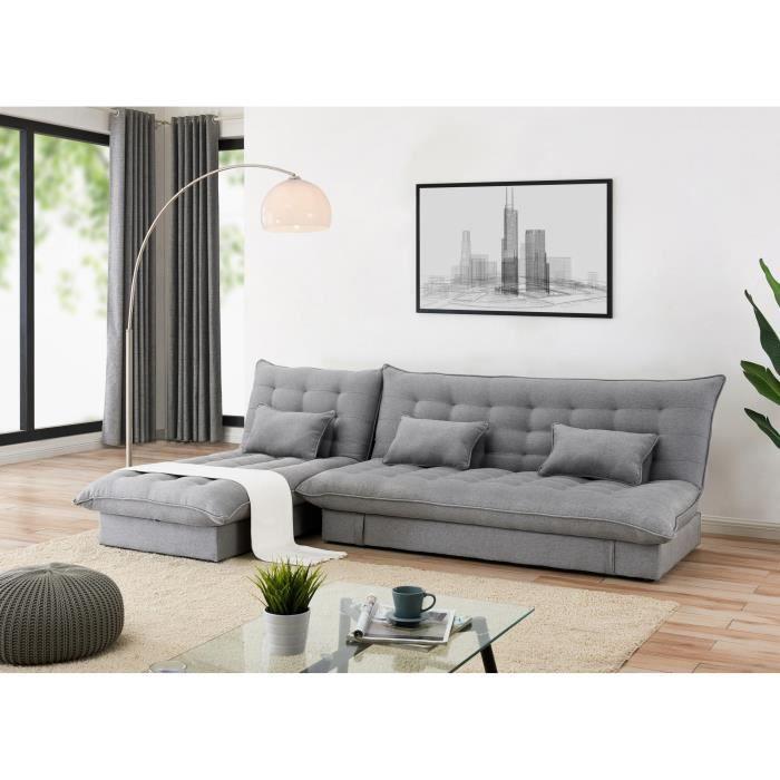 Canapé d'angle convertible modulable en tissu gris BARRY
