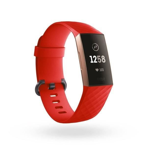 Bracelet Silicone pour FITBIT Charge 4 Taille S 95-103mm Poignet Sport (ROUGE)