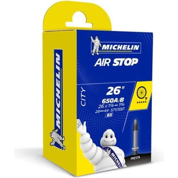 MICHELIN - Chambre à air type B3 modèle AIRSTOP Butyl dimensions 650 28/47 valve presta 29mm