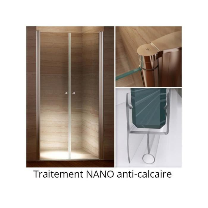 Porte de douche TRANSPARENT 120-124cm (largeur réglable) Hauteur 185 cm Nano anti calcaire verre de sécurité