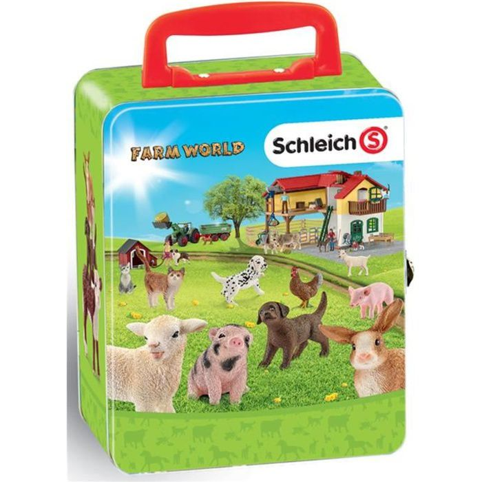 KLEIN Schleich Farm World - Mallette pour collection 18 animaux de la ferme