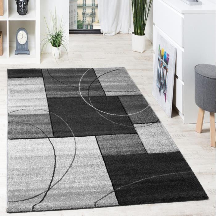 Tapis Design Grande Qualité Motif Á Lignes Et Carré Anthracite Gris Crème [80x150 cm]