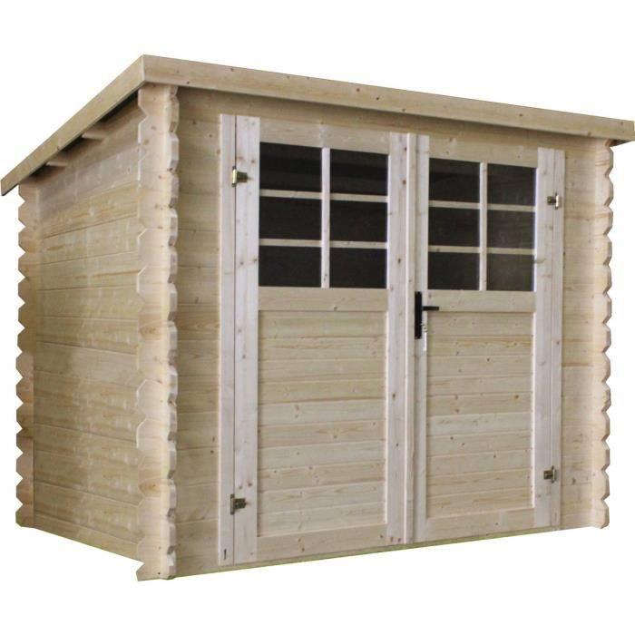 Abri de jardin bois - 4,60 m² - 2,38 x 2,38 m - 28mm