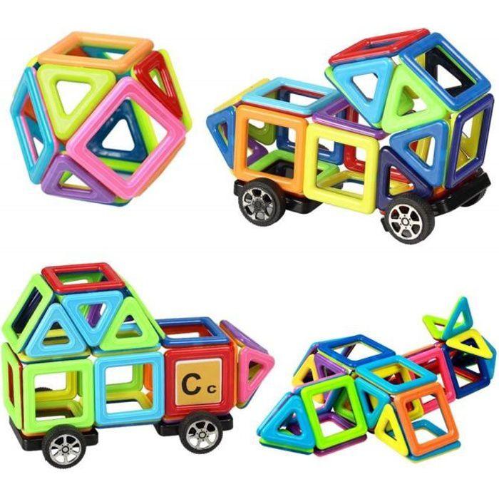 E-CHANCE MINI 76PCS Jeu de Construction Blocs Magnétiques Jouet Educatif et Créatif Cadeau Anniversaire Fête pour Les Petits Enfants