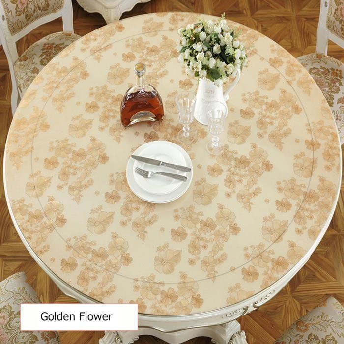 60x60cm Nappe de table ronde transparente, Nappe ronde transparente antitache, Nappe exterieur table ronde, 04