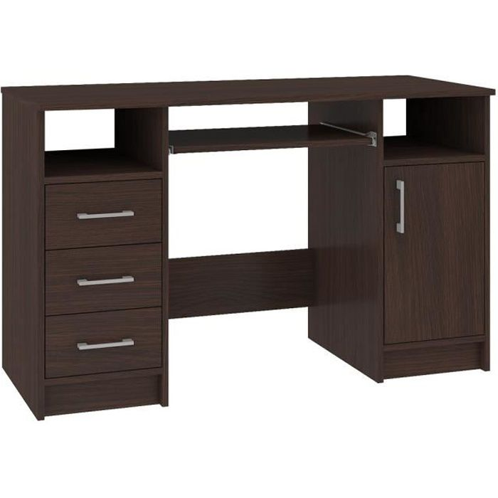 KAMA - Bureau informatique moderne 124x74x52 cm - 3 tiroirs + support clavier + niches - Table ordinateur/Mobilier bureau - Wenge
