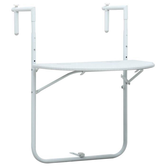 UNIQUE Table suspendue de balcon pratique Table d'extérieur Blanc 60x64x83,5 cm Plastique Aspect de rotin 8369