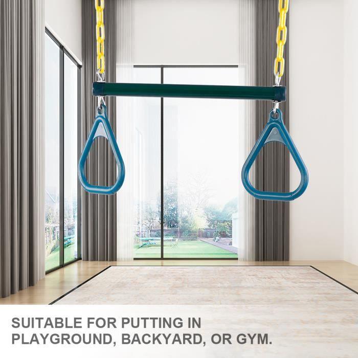 Trapeze bois avec anneaux de gymnastique--LAY