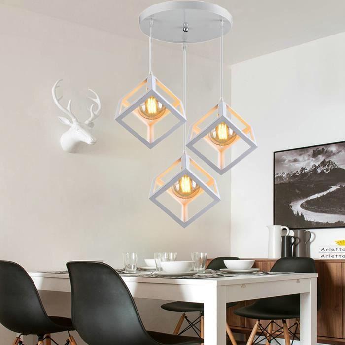 Gobel Lustre à disque industriel vintage Pied de lampe vintage carré Plafonnier orientable blanc