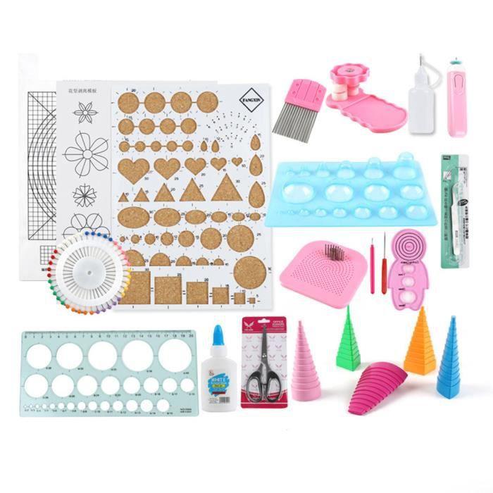 24 PCS Quilling Kit Outils Accessoires Set Art Artisanat Décoration DIY Design 40 ml Mishuowoti 203