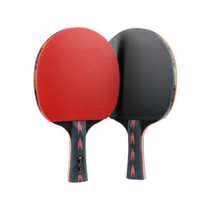 VV11582-Raquette de ping-pong en fibre de carbone rouge 2 étoiles 5 Double RAQUETTE DE TENNIS DE TABLE - CADRE DE TENNIS DE T