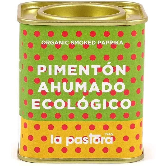 LA PASTORA - Produit Gourmet - Paprika Doux Fumé Bio - Boîte de 75g - 100% Naturel - Paprika Fumé - Antioxidants - Convient aux Cœli