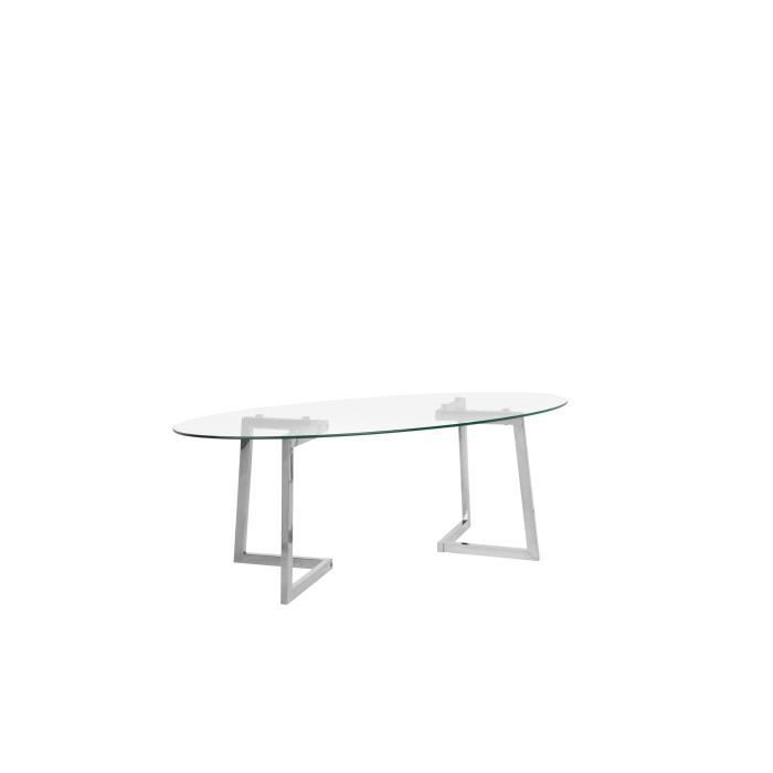 Table basse argenté et plateau en verre FRESNO