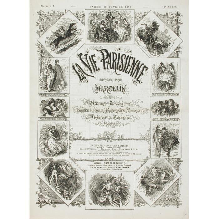 Poster Affiche La Vie Parisienne Couverture Magazine Erotique Vintage 1876 31cm x 42cm