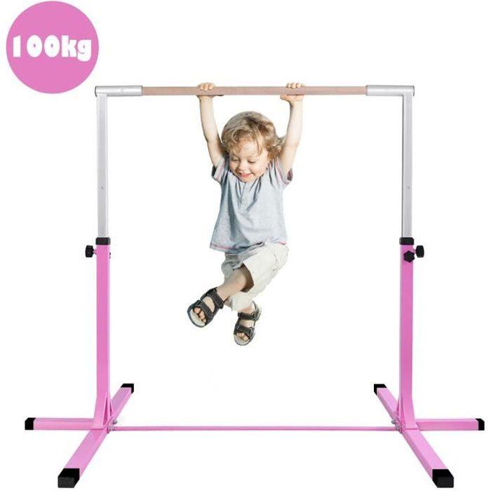 GIANTEX Barre de Gymnastique Enfant,Hauteur Réglable 12 Niveaux 91-150cm,Barre Fixe d'Entraînement en Acier Rose Bois Massif Hêtre