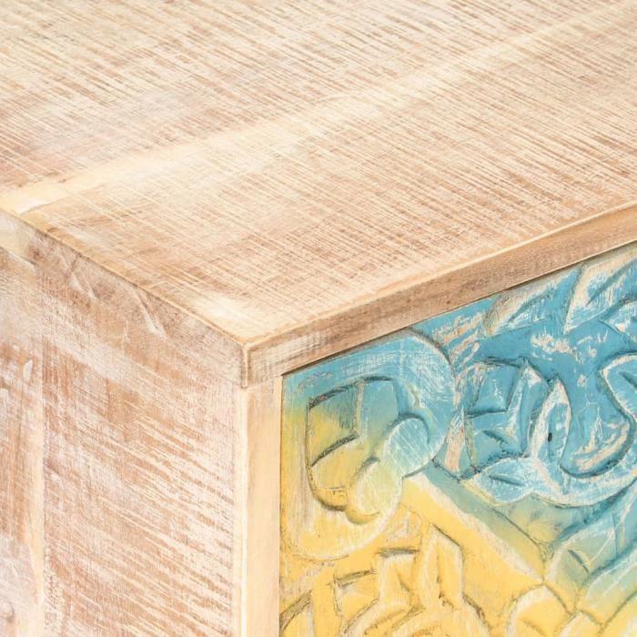 BEL Table de chevet sculptée 40x30x50 cm Bois d'acacia massif #0