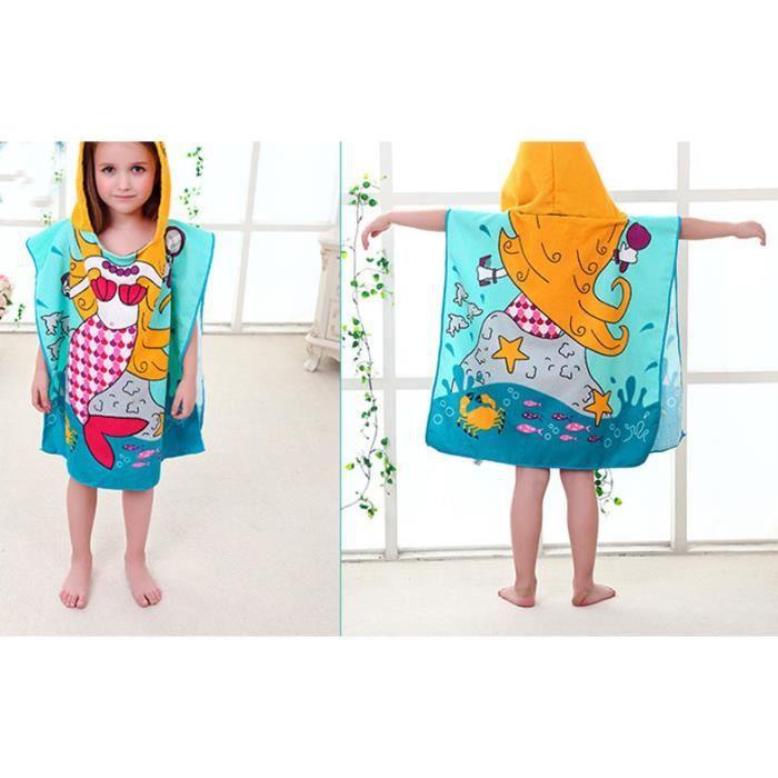 Serviette de plage microfibre imprimé pour enfant pyjama cape pochon Sortie de bain bébé piscine peignoir drap de douche à capuche