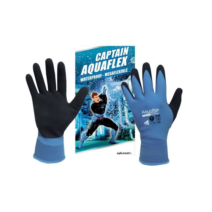 Gants de travail en Latex - Gants 100% Imperméable - Captain Aquaflex Taille 10 - Gants de protection double enduction Latex