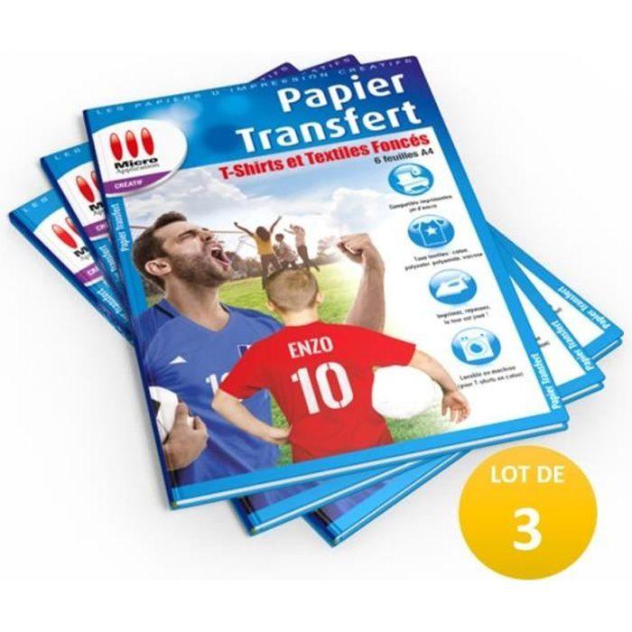 LOT DE 3 PACKS : 3X Papier Transfert T-Shirt pour Textiles de Couleur - 6 feuilles A4 / 3x MA-5099 soit 18 feuilles A4