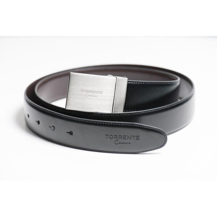 Torrente - Ceinture Reversible Noir/Marron - Cuir - Taille Ajustable - Boucle détachable - Ceinture homme Couture 15