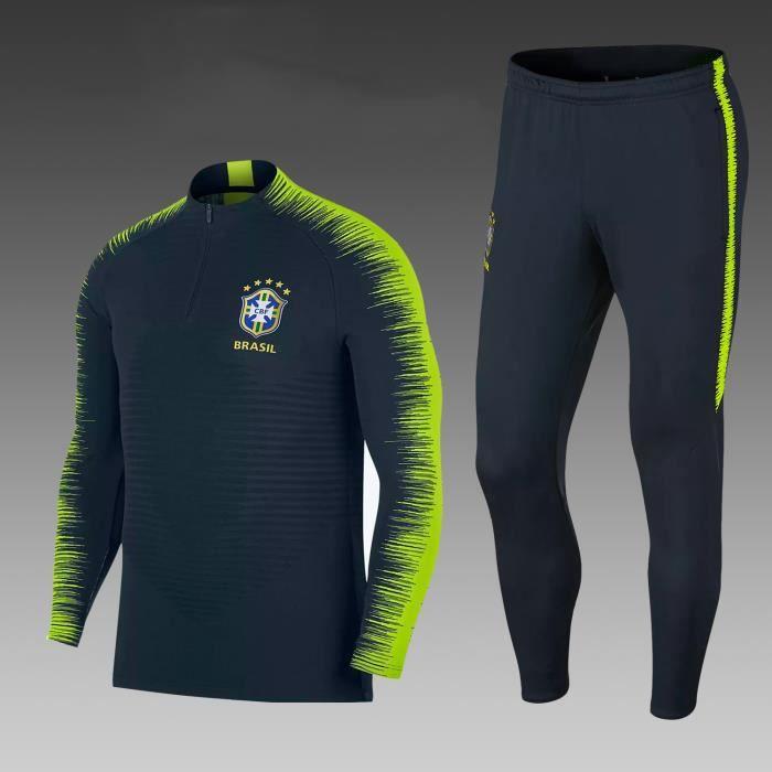Bresil 2018 Maillot de Foot Football Soccer(maillot + pantalon)Kit Suit  Pas Cher Survêtement Training pour Homme