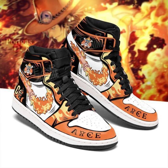 Baskets Anime One Piece Portgas D. Ace Fire Fist Skill Chaussures de course pour Homme Femme