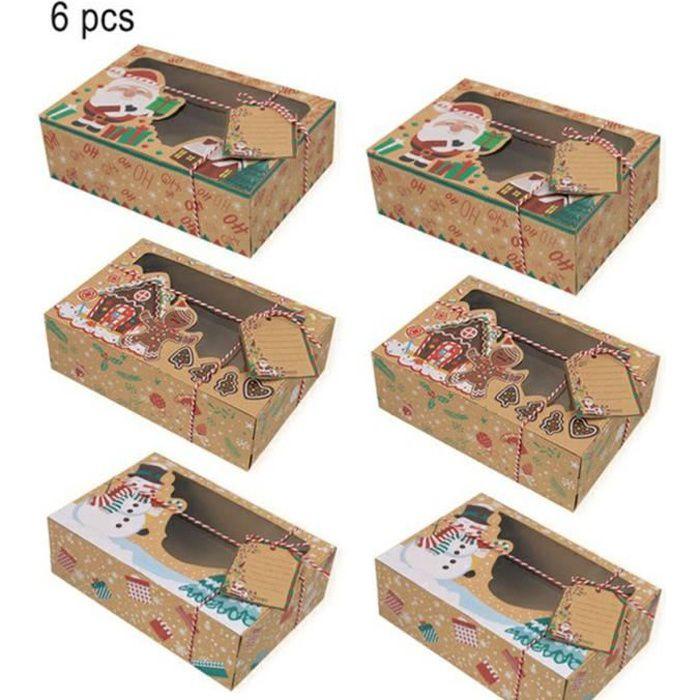 mean-6Pcs, Coffret De Biscuits Pour Noël Coffret En Papier Kraft Pour Bonbons Chocolat De 3 Styles