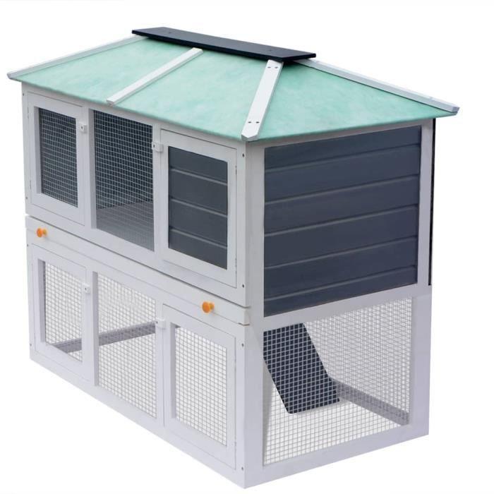 2235TOP VENTE-Chic Cage pour petits animaux de compagnie Clapier d'extérieur - Cabane Lapin Animaux Grand Poulailler double pour ani