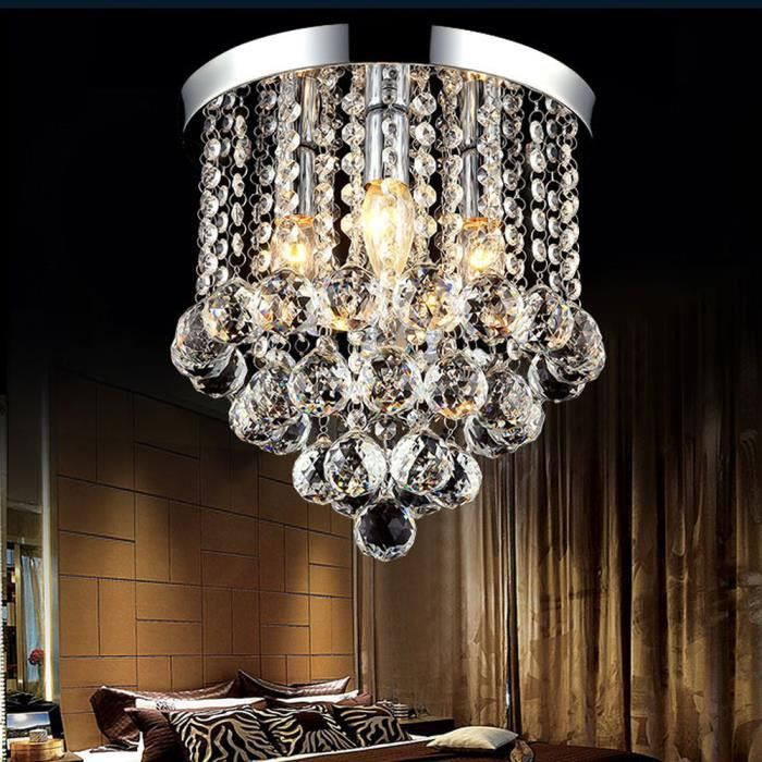 Cristal Plafonnier Moderne 25cm Lustre Eclairage Lumière Pendentif avec E14 Douille 3 Têtes de Luminaire