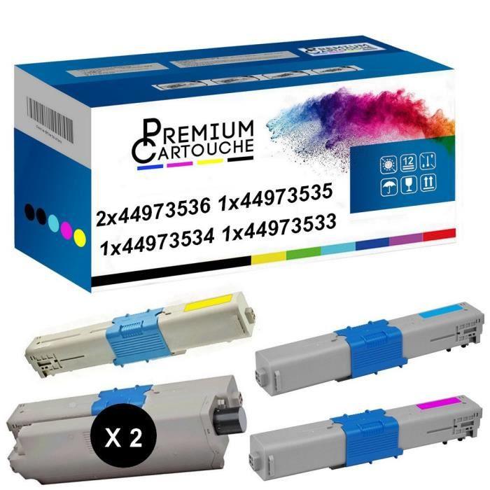 Toner 44973536 Noir (x2) + Cyan + Magenta + Jaune Compatible pour OKI C301 OKI C301dn OKI C321 OKI C321dn MC332dn OKI MC342dn OKI MC