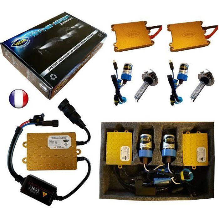 Kit HID Xénon Marque FRANCAISE Vega® H7 12000K 55W Slim DSP AC ampoules à embase métallique