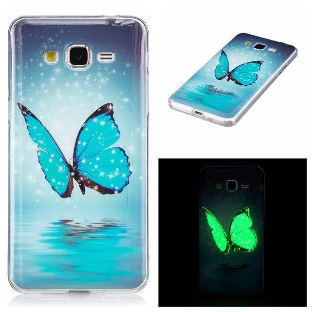 coque iphone 6 6s papillon bleu silicone doux lue