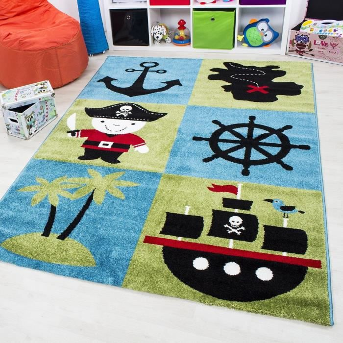 tapis pour chambre d 39 enfant dessin de pirate certifi par ko tex 200x190 achat vente tapis. Black Bedroom Furniture Sets. Home Design Ideas