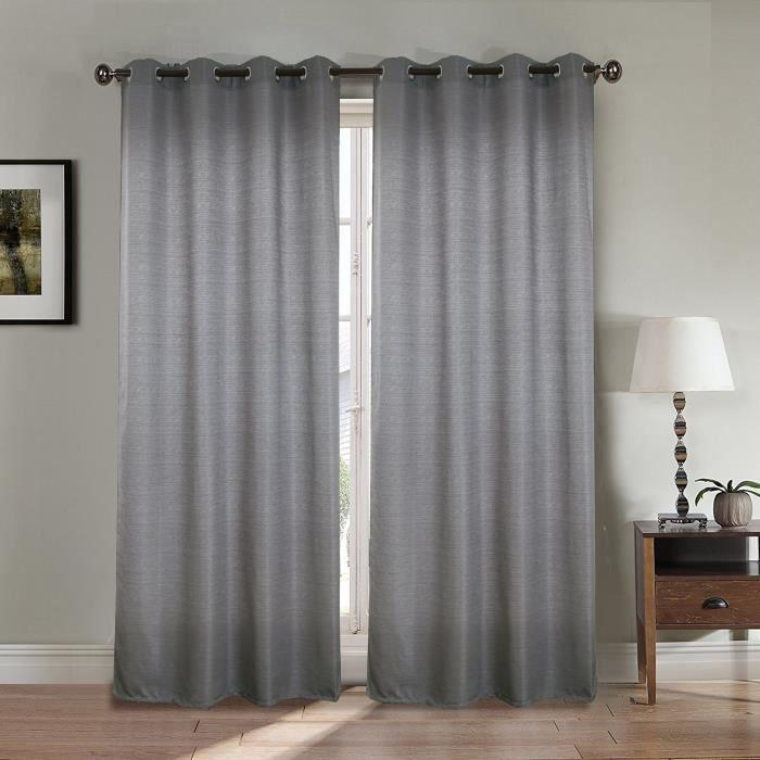 RIDEAU Paire double rideaux 140x260 cm Gris clair - Effet