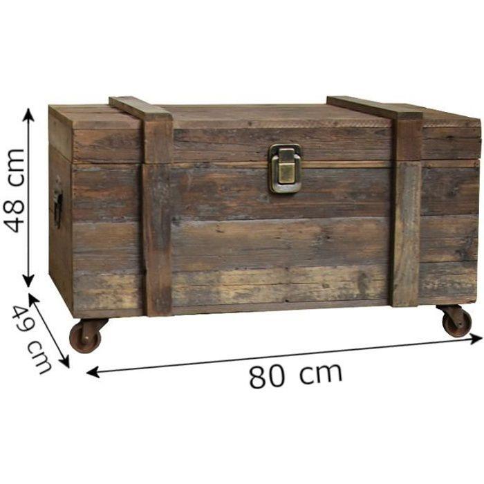 Grand en Bois Coffre 80 CM Long De Solide Bois Pin en Marron Couleur