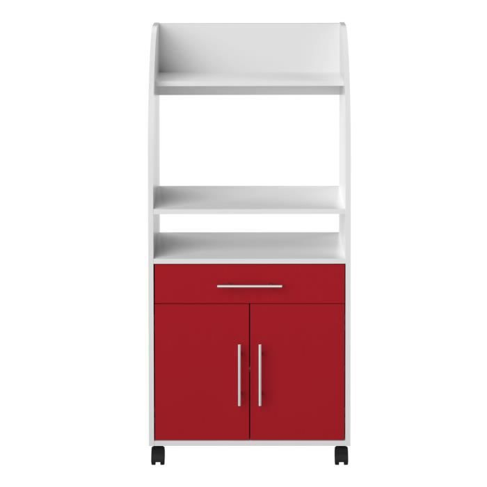 desserte micro ondes coleen blanc et rouge 2 p achat vente petit meuble rangement. Black Bedroom Furniture Sets. Home Design Ideas