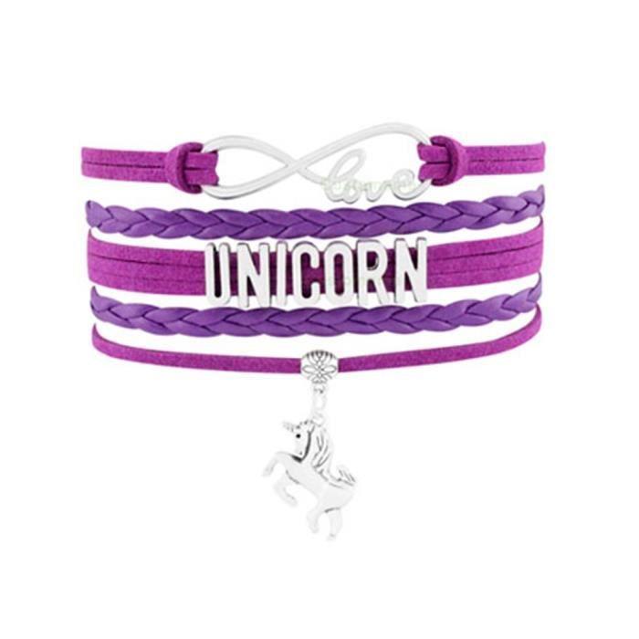 BRACELET - GOURMETTE Bracelet Multi rangs Femme Love et Licorne en Suèd