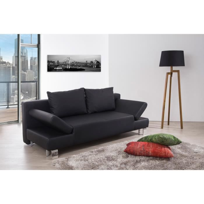 calysto banquette clic clac en simili 3 places 207x93x85 cm noir achat vente clic clac. Black Bedroom Furniture Sets. Home Design Ideas