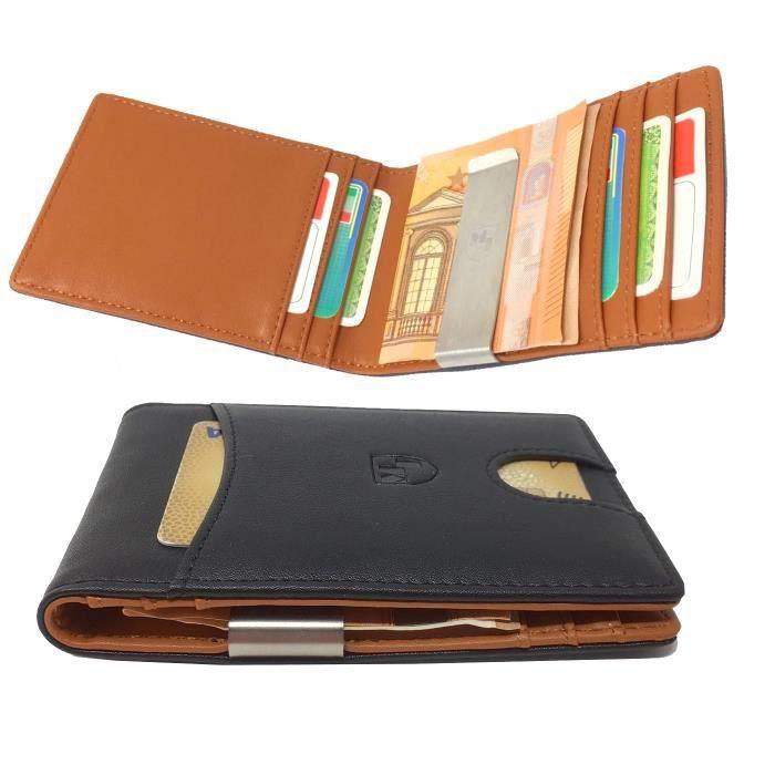 PORTEFEUILLE Portefeuille avec Pince à Billets Etui RFID Blocag
