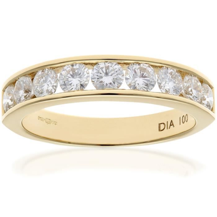 Revoni Bague alliance Diamant Or Jaune 750° Femme: Poids du diamant : 1 ct - CD-PR03635Y18JPK-P