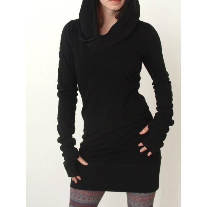 Robe A Capuche Femme Sexy Pull Manche Longue Casual Sport Soiree Moulante Mode Noir Achat Vente Robe Cdiscount