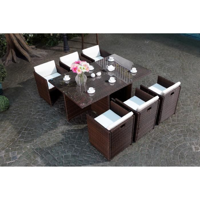 vito salon jardin chocolat encastrable 6 personnes achat vente salon de jardin vito salon. Black Bedroom Furniture Sets. Home Design Ideas