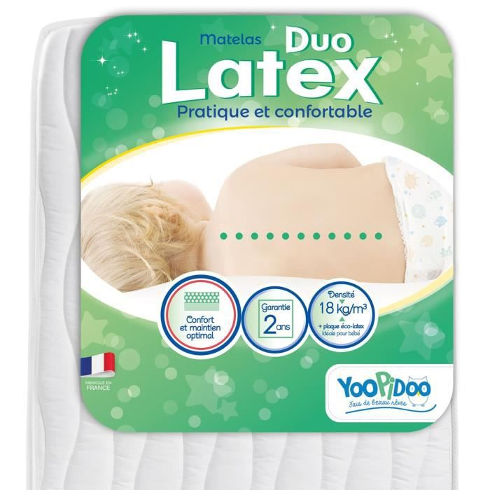 Yoopidoo Matelas Bebe Duo Latex Double Confort Respirant